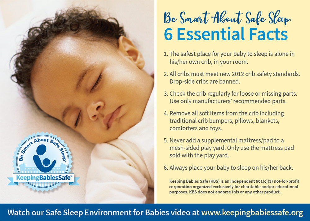 be smart about safe sleep 6 essential facts postcard